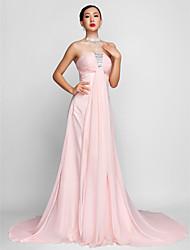 Fiesta formal Vestido - Rosa Corte A Strapless Gasa Tallas grandes
