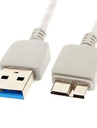 USB 3.0 para Micro USB 3.0 M / M Cable Net-chapeado cinza para Samsung Nota 3 (1M)