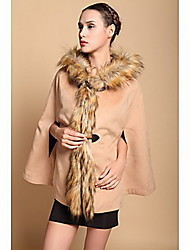 DOWISI Women's  Big Fur Collar Medium Big Coat