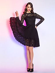 A-Line Queen Anne Knee Length Chiffon Lace Cocktail Party Homecoming Holiday Dress with Lace Pleats by TS Couture®
