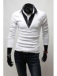 v vintage gefälschte 2 Stück Langarm Schlankheits-T-Shirt (weiß)
