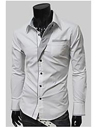 de v rayas personales manga larga camisa de adelgazamiento (blanco)