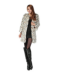 Long Sleeve Collarless Faux Fur Party/Casual Coat