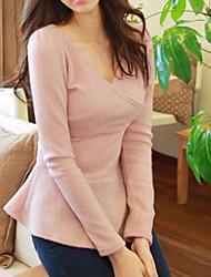 Das mulheres Cruz Collar Magro manga comprida Blusa