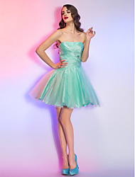 Homecoming Cocktail Party/Homecoming/Holiday Dress - Sage A-line Strapless Short/Mini Lace/Taffeta/Tulle