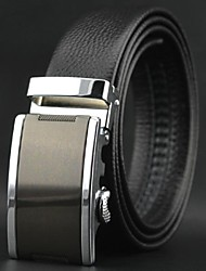 Men's Top Grade Genuine Cowskin Leather Automatic Buckle Belt