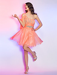Cocktail Party / Homecoming / Holiday Dress - Ruby Plus Sizes / Petite A-line One Shoulder Short/Mini Chiffon