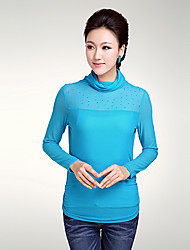 QIANMAI Mesh High-Collar Tops(Blue)