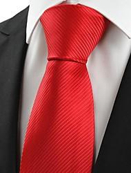 New Classic rayé rouge écarlate hommes de cravate pour le cadeau de vacances de noce