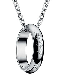 Fashion Titanium Steel With Lord of the Ring Design Laser Engraving Ring Necklace