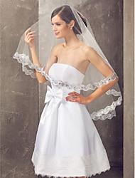 One-tier Fingertip Wedding Veil With Sequin