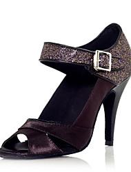 Elegant Sparkling Glitter Satin Ankle Strap Latin Dance Sandals For Ladies(More Colors)