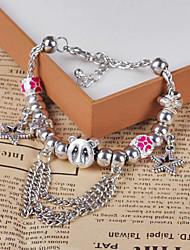 Moda Handwoven Prata Bead Bracelet (cor aleatória)