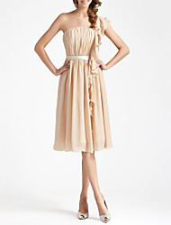 Lanting Bride® Knee-length Chiffon Bridesmaid Dress - Sheath / Column One Shoulder Plus Size / Petite withDraping / Ruffles / Sash /