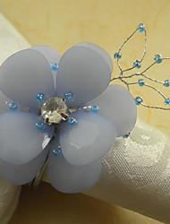 Lavendel-Blumen Acryl Perlen Serviettenring, 4,5 cm Dia4.2-Satz von 12