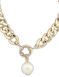 Solide Couleur du motif Pearl btime femmes de collier de chaîne épais