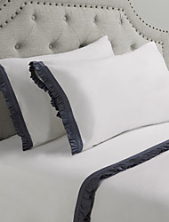 Simple&Opulence® Sheet Set,4-Piece 100% Cotton 250TC with Gray Wrinkled Edge