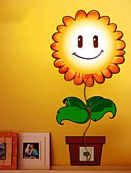 3D autocollants de mur de la lampe, 220V ~ 50Hz, 25W Lampe, bande dessinée Autocollant de tournesol mur