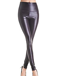 Shiny Metallic High Waist Stretchy Leather Leggings