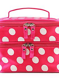 Fashion Women Portable Makeup Storage Cosmetic Retro Dot Pattern Beauty Makeup Hand Case Bag