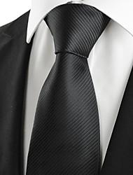 classique rayé cravate noire formelle des hommes