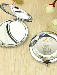 Personalized Gift Heart and Lover Pattern Chrome Compact Mirror
