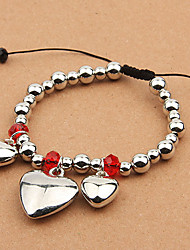 Fashion Heart Bead Strand Adjustable Bracelet(Random Color)