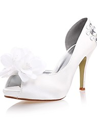 Satin Women's Wedding Stiletto Heel Pumps Sandals with Rhinestone and Flowers Shoes(More Colors)
