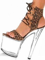 Suede Women's Stiletto Heel Platform Sandals Shoes With Lace-Up