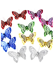 Wedding Décor 3D Artificial Paperboard&Organza Butterfly - Set of 12 Pieces