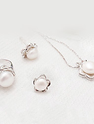 Sweet Silver Alloy(Earrings&Necklaces&Rings)Pearl Jewelry Sets