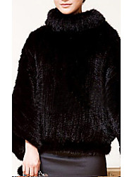 Long Sleeve Standing Mink Fur Party/Casual Jacket