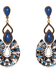 Blue Chandelier Shape Green Resin Drop Earrings