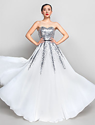 Prom Formal Evening Military Ball Dress - Celebrity Style A-line Sweetheart Floor-length Chiffon Sequined with Sequins
