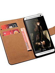 Genuine Leather Book Style Wallet with Card Holders Case for HTC One M7