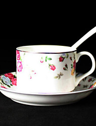 Roses Coffee Mug,Porcelain 5oz