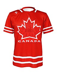 KOOPLUS - T-shirt vermelho Cycling Team poliéster Nacional + Lycra manga curta canadense