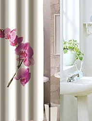 "Shower Curtain Pink Floral Print Thick Fabric Water-resistant W71"" x L79"""