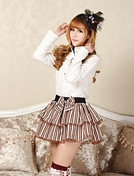 Skirt Sweet Lolita Lolita Cosplay Lolita Dress Coffee Patchwork / Print Lolita Medium Length Skirt For Women Polyester