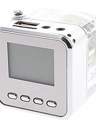TT-028 mini altavoz de múltiples funciones con la radio de FM, lector de tarjetas del TF, función de reloj (transparente)