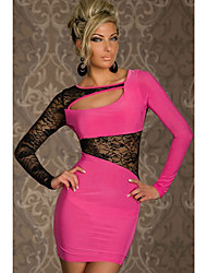 Women's Lace Black/Pink/Red Dress , Sexy/Lace/Bodycon Bateau Sleeveless Lace/Hollow Out