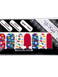 -Ponta completa 14PCS Lip Imprimir Nail Art Adesivos Decalques Ambiental grávida