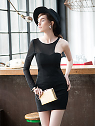 TS Mesh Splicing One Shoulder Midriff Bodycon Dress