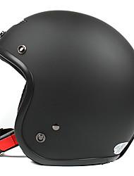 negro mate-2 abs material de la motocicleta medio casco (con la lente de tamaño s)