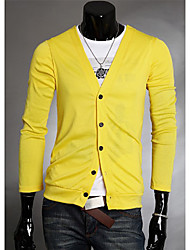 v tiefe V-Ausschnitt Kurzarm Schlankheits-Baumwolle Strickwaren (gelb)