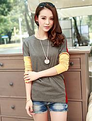 Damen Einfarbig T-Shirt - Baumwolle Langarm Rundhalsausschnitt