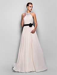 TS Couture Formal Evening Military Ball Dress - Open Back A-line Halter Floor-length Georgette with Flower(s) Sash / Ribbon