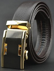 Men's Top Grade Genuine Cowskin Leather Automatic Buckle Belt Brown