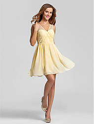 Lanting Short/Mini Chiffon Bridesmaid Dress - Daffodil Plus Sizes / Petite A-line V-neck
