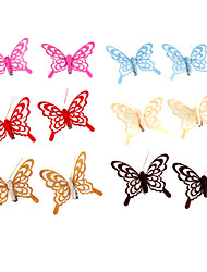 Wedding Décor 3D Artificial Non-woven Fabric Butterfly - Set of 12 Pieces